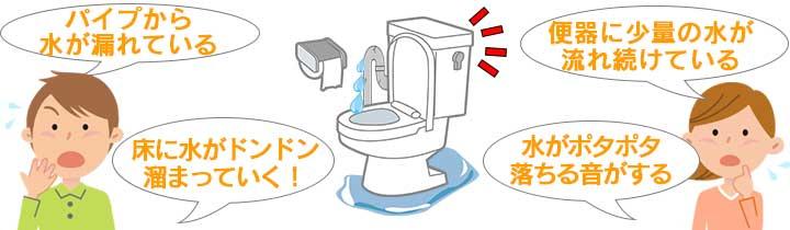 パイプから水が漏れている!床に水がドンドン溜まっていく!便器に少量の水が流れ続けている!水がポタポタ落ちる音がする!